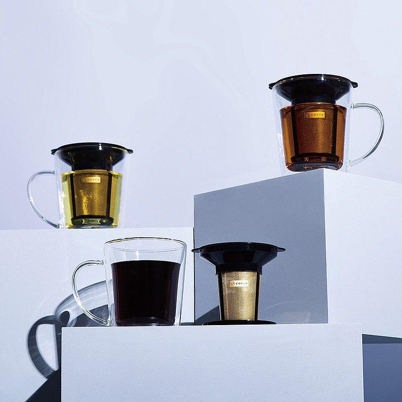 Cores 黃金濾杯雙層玻璃沖泡杯組