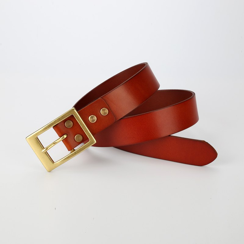 [Cutline] Father's Day gift handmade belt length custom men's leather belt Italian vegetable tanned leather