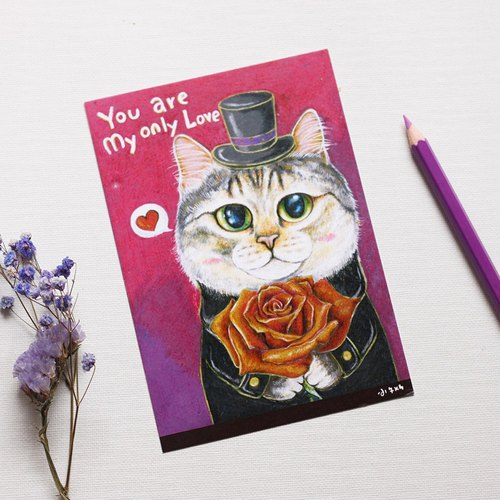 """Thirteen meow illustrator"" only love ☉ cat ☉ illustration postcard"