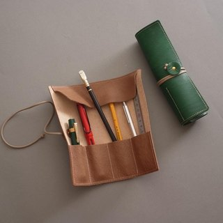 """RENÉE"" retro styling styling pen / pencil case / pen storage plant tanning carving leather / plant tannage / vegetable tanning leather brown"