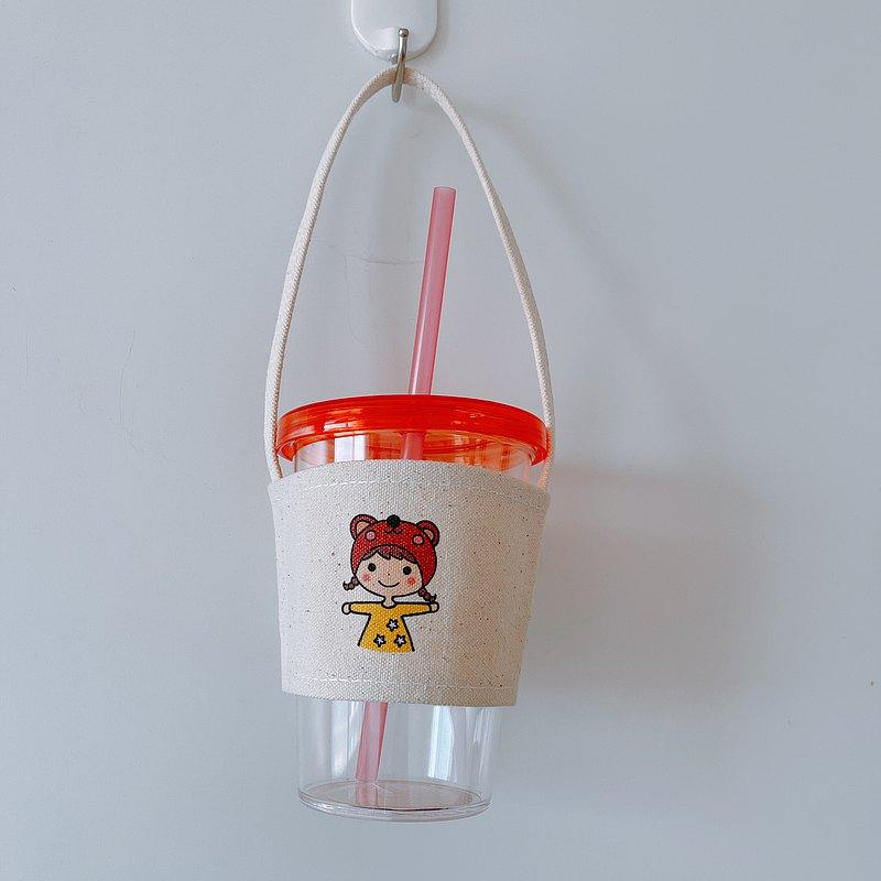 熊帽 女孩 手繪環保杯袋