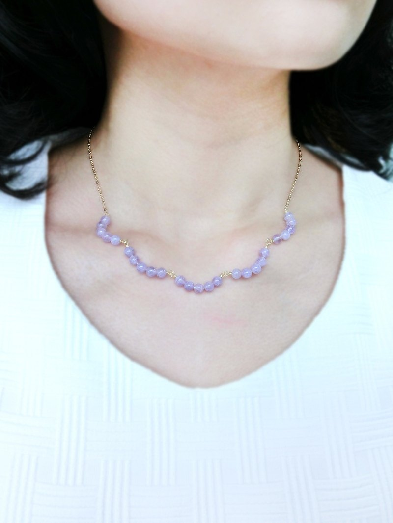 [Small wave lace] purple necklace