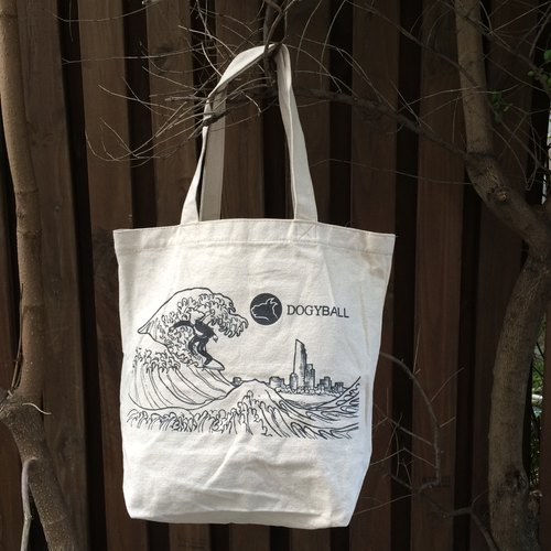 【Dogyball】 City Surfing Dyed linen hand-painted shopping bags Christmas gift exchange value practical