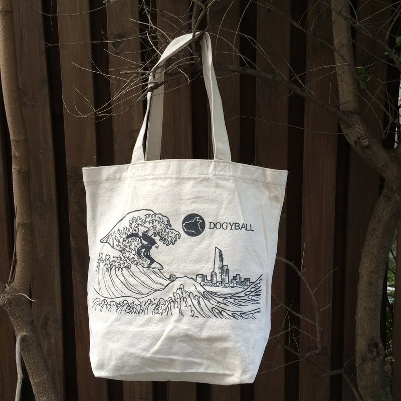 "[Dogyball] ""Valentine's Day"" non-dyed linen hand-painted shopping bag value-for-money"