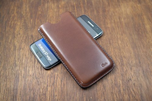APEE leather handmade ~ plastic phone holster ~ Plain black brown