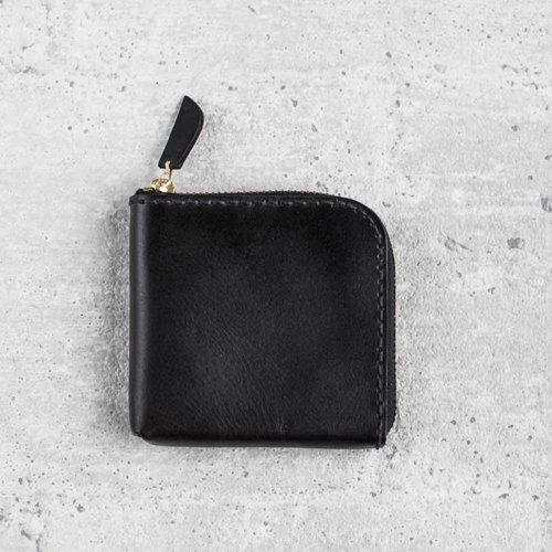 Black classy leather coin zip wallet