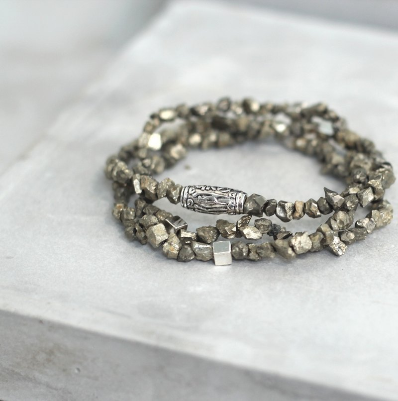 熉yun. Natural ore sterling silver rosary bracelet fire stone power positive positive pyrite rough