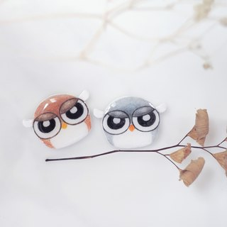 / Tantrum Owl / Cute handmade earrings owl anti-allergic ear pin painless ear clip