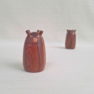 Four-eared bear (Slim version) Sugar bowl Creamer Seasoning pot Storage tank Bear Wood