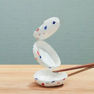 Handmade pottery - soy sauce dish x chopsticks frame set of three pieces