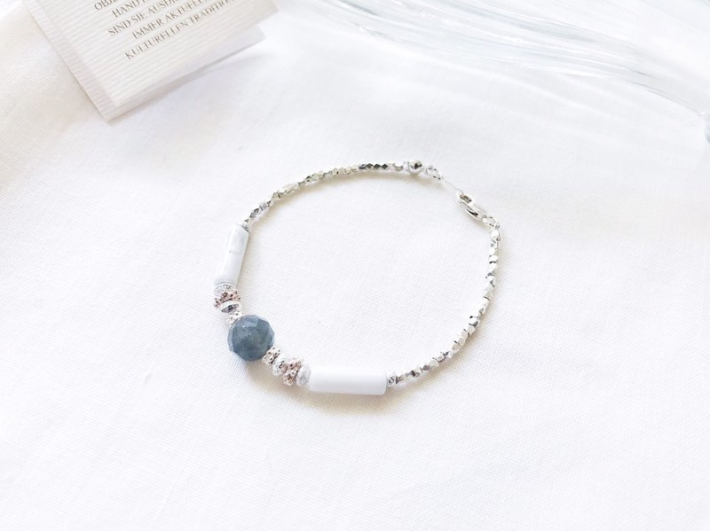 ::Silver Mine Series - Limited Edition:: Labradorite White Turquoise Multi-cut Silver Bracelet / Anklet / Dual-purpose Chain