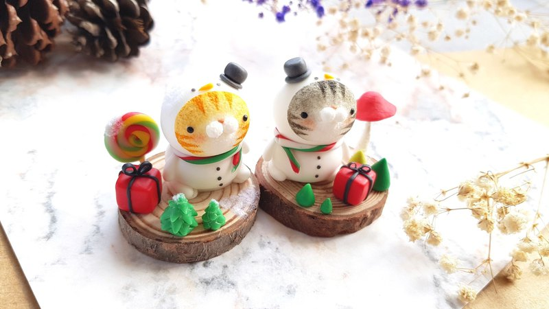 Christmas cat micro-view - snowman small fat boy (single)
