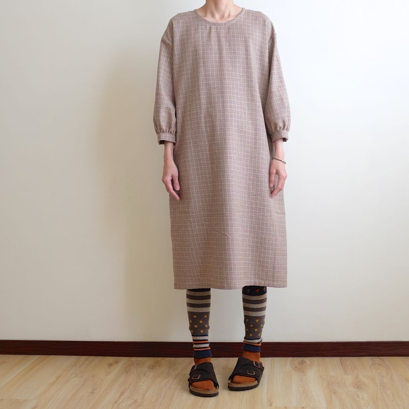 Daily Handmade Suit Brown Houndstooth Pattern Puff Sleeve Straight Dress Blended Wool