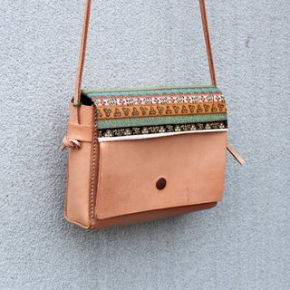 Diana : handmade leather bag with 2 sides farbic