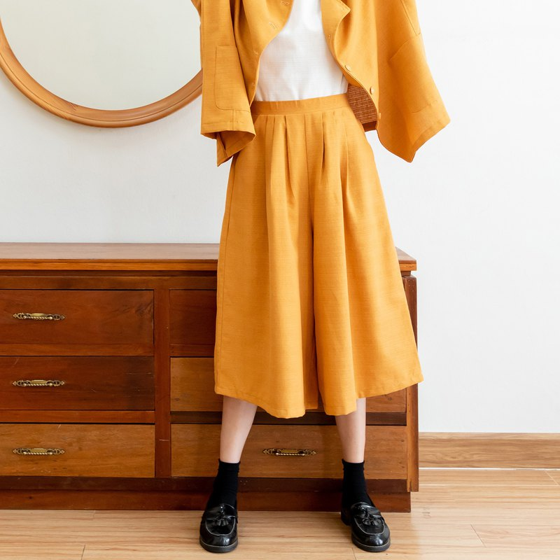Good vibes pants - Thai cotton culottes pants with side zip (Mustard Yellow)