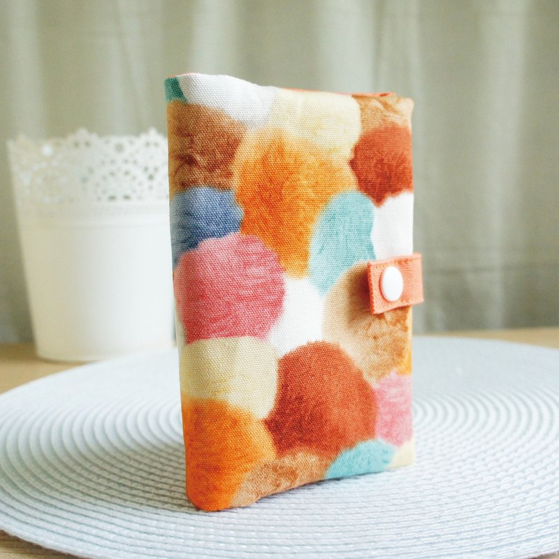 Lovely [Japanese cloth] color hair ball zipper passport cover, cloth book cover 10X14cm, orange coffee