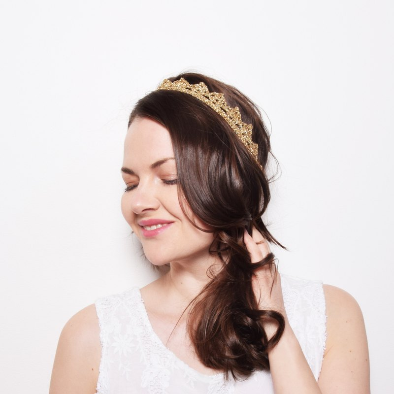 Gold Lace Crown Headband, Bohemian Crown Headpiece Tiara