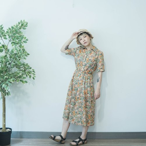 Vintage forest green check prints cotton dress