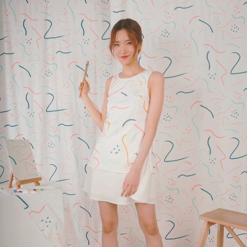 Doodle Shift Dress (White/Mustard)