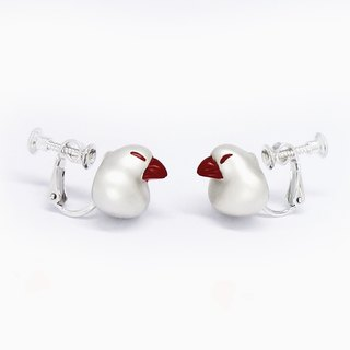 Red beakJava sparrow clip earring SV925【Pio by Parakee】餅的白文鳥漆嘴夾式耳環