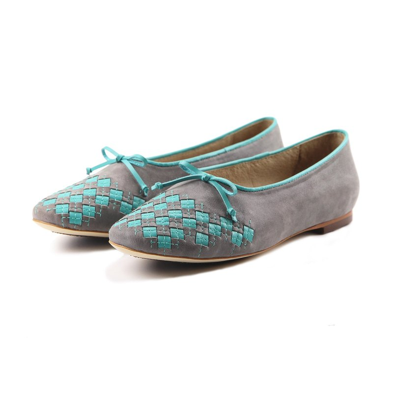 Leather ballet flats PLAYGAME W1059 Gray