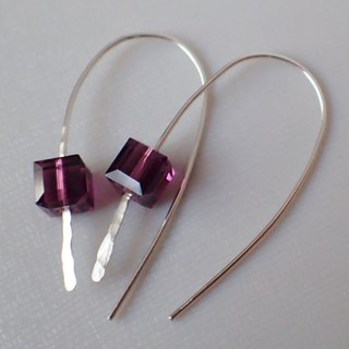 Lightup workshop - ear hooks , 999-Fine Silver and 6mm Cubes of SWAROVSKI ELE