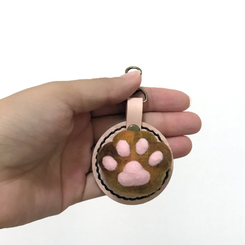 Fist Cat Meat Ball - Chrysanthemum Cat's Palm - Leather Wool Felt Key Ring - Free Stamp 10 English