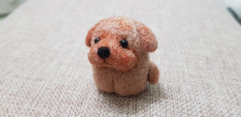 Original wool felt tail swing Q version brown dog key ring
