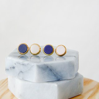 Inlaid gold-trimmed stone circle - Dark blue ear earrings (pair) [can be changed ear clip]