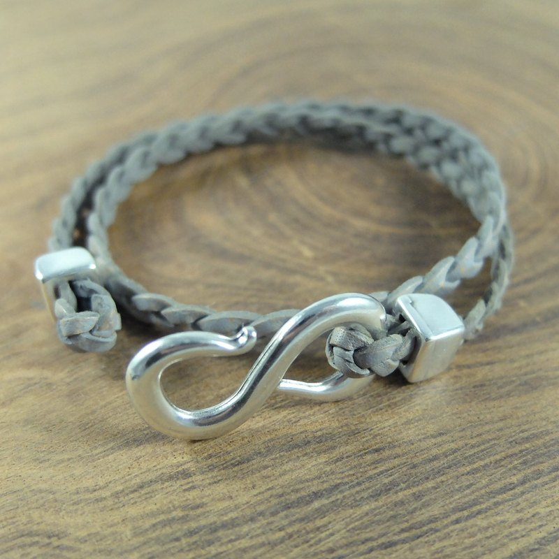 Valentine's Day gift Silver S buckle Flat leather rope bracelet (two-color gray woven leather strap) Music in hand made European jewelry