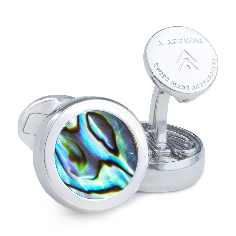 Abalone Shell Pearl Cufflinks with Clip-on Button Covers