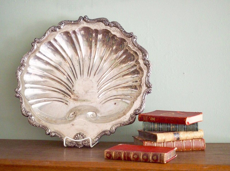 Large antique silver plated shell tray / entertaining tray