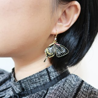 Butterfly series black swallowtail butterfly resin earrings sold unilateral