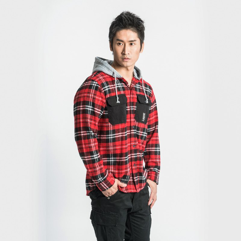 L.I.M.I.T.E - Men's Cotton Flannel Check Shirt with Hood