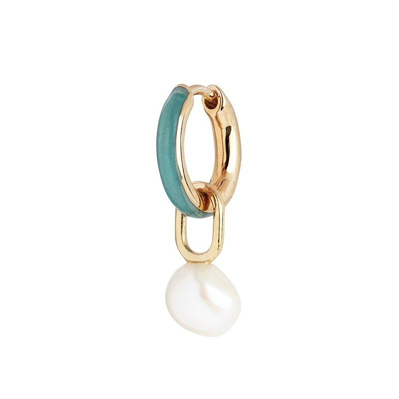 湖水綠琺瑯珍珠耳環