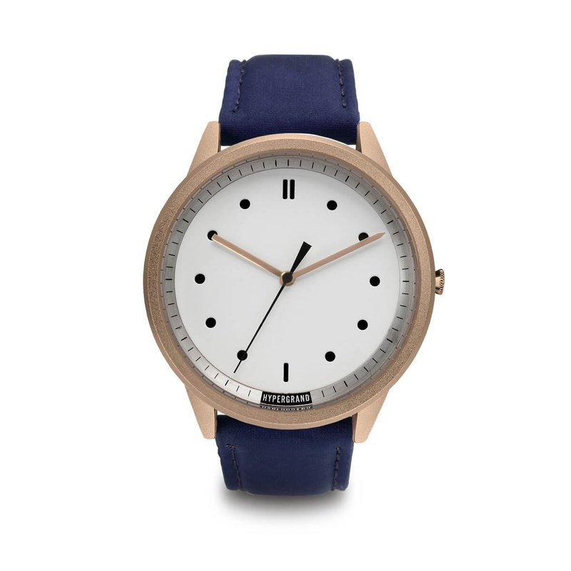 HYPERGRAND - 02 Basic Series - Rose Gold White Dial x Blue Pilot Watch