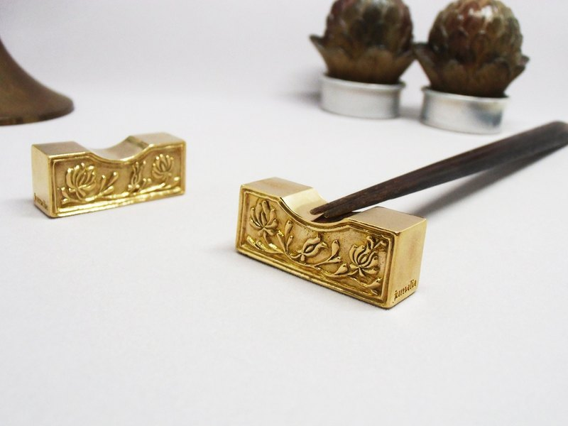 Hungarian embroidery motif heavy brass chopstick rest reversible