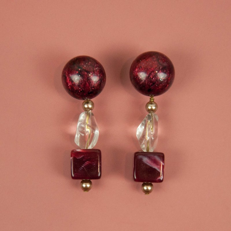 Red Wine with White Crystal Earrings
