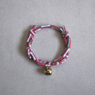 Japanese dog collar & cat collar【Nordic Cloth Adjustable】Red Daisy_S size