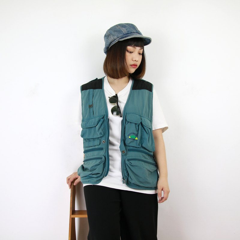 Back to Green fisherman's vest steel blue blue green men and women can wear vintage F-06