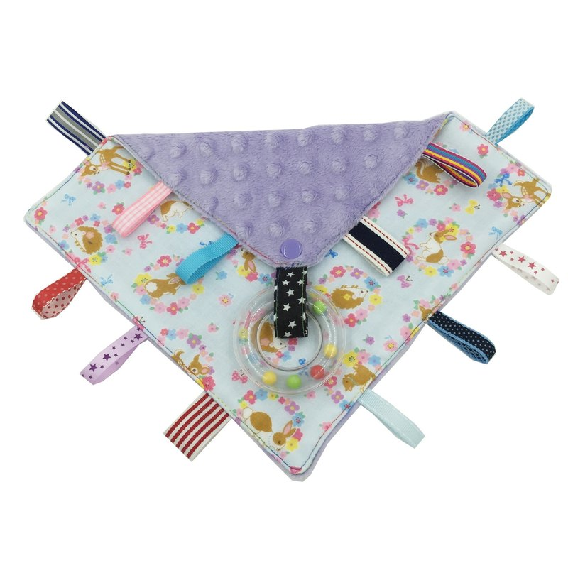 F11-handmade 2 in 1 handbell label appease towel can be used as pacifier chain Japanese double yarn X2 times = 4 layers