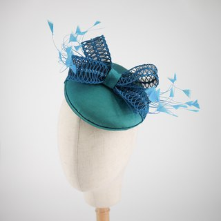 Turquoise blue silk covered button hat beret hair fascinator Millinery