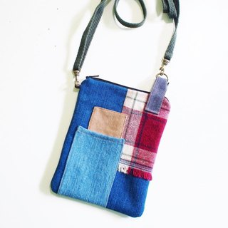 E*group square patchwork small bag tannin dark blue
