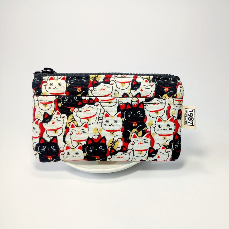 [Black and White Lucky Cat] Coin Purse Clutch Bag