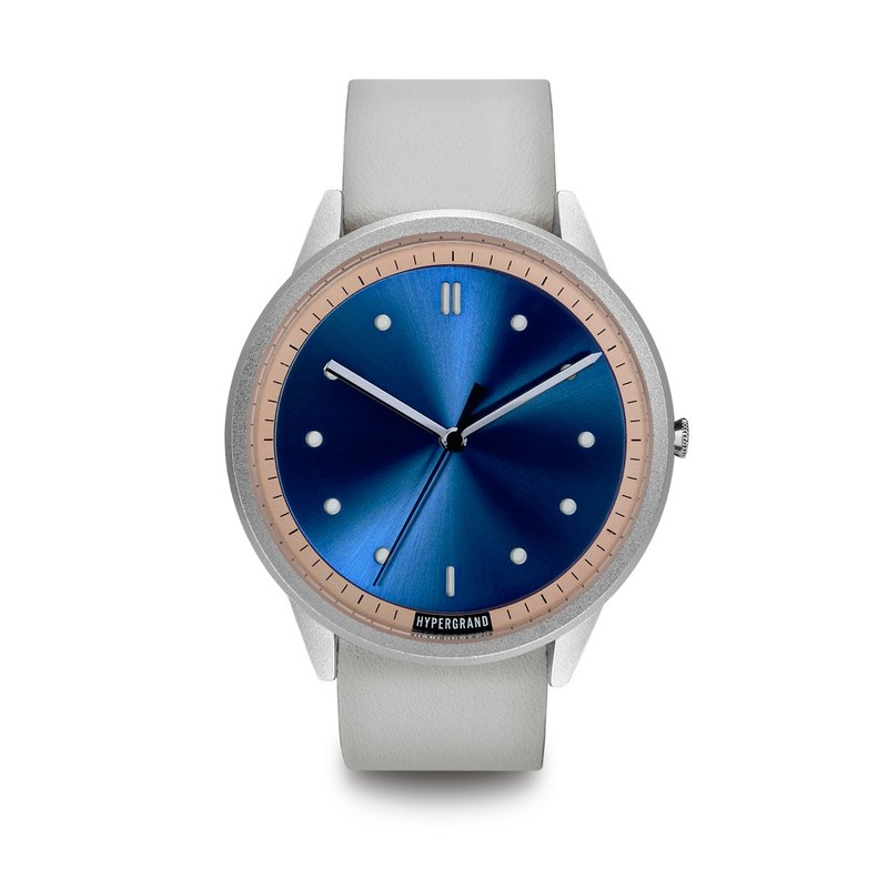 HYPERGRAND - 02 Basic Series - Silver Blue Dial White Leather Watch