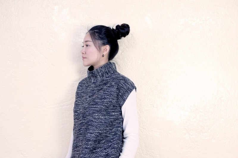 Turtleneck wool vest | Black and white noise weave-spot 1