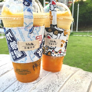 [Japanese limited] summer festival white - Japanese hand made cup set / beverage bag