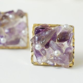 Amethyst natural stone and pearl earrings / earrings