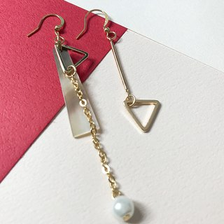 [Da Da Daily] Anisomerous marble gold pearl earrings