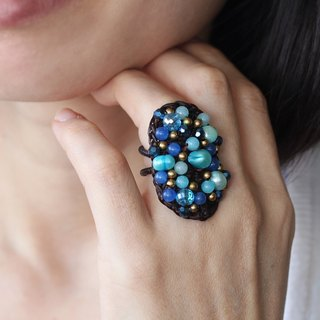 Knitting Cocktail Ring Blue Pearl Woven Crochet Beaded Adjustable